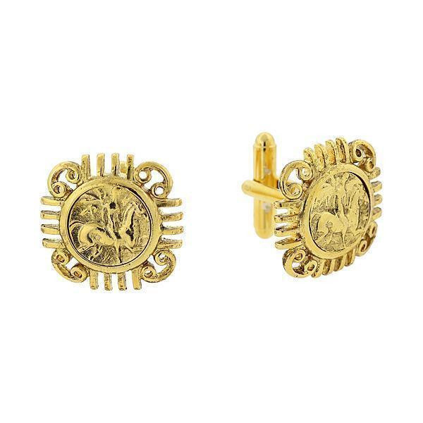14K Gold Dipped Ancient Greek Coin Replica Cufflinks