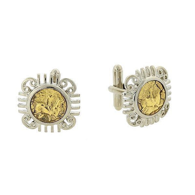 Silver Tone And 14K Gold Dipped Ancient Greek Coin Replica Cufflinks