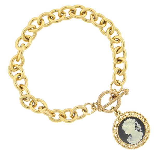Gold Tone Black And Ivory Color Cameo Toggle Bracelet