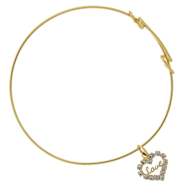 14K Gold-Dipped Crystal Accented Love Heart Charm Wire Bracelet