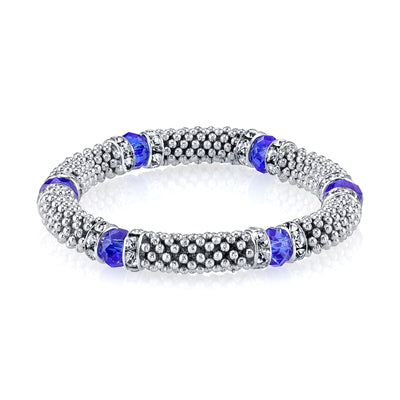 Silver-Tone Blue With Crystal Accent Stretch Bracelet