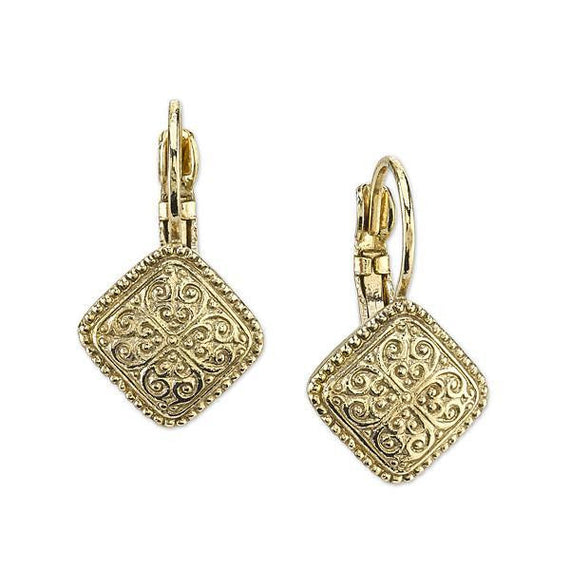 1928 Jewelry: 2028 Jewelry - Gold-Tone Square Leverback Earrings