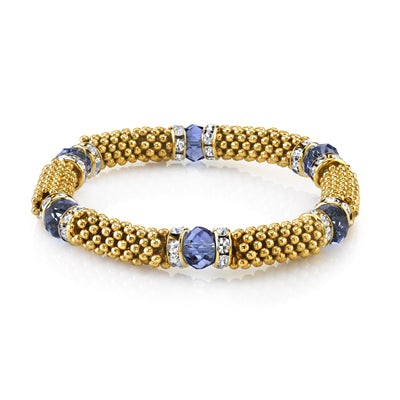 Gold Tone Blue With Crystal Accent Stretch Bracelet