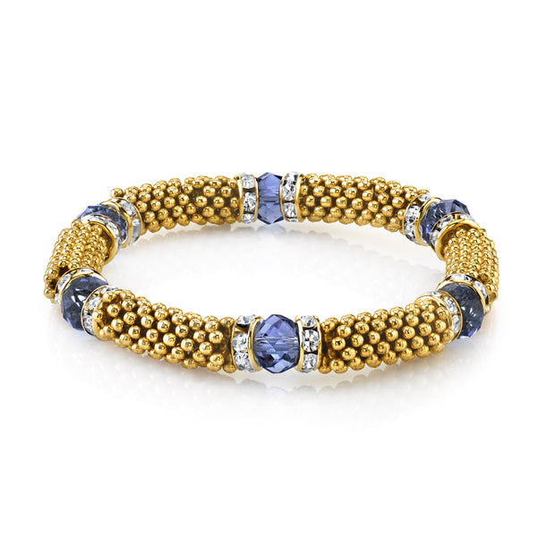 Gold-Tone Blue With Crystal Accent Stretch Bracelet