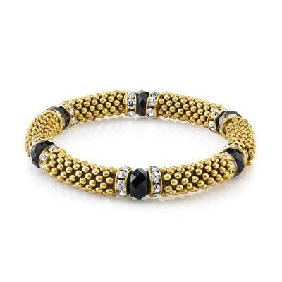Gold Tone Black With Crystal Accent Stretch Bracelet