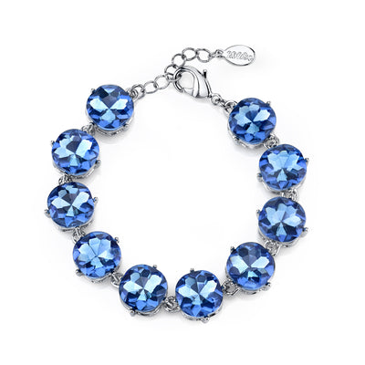 Silver Tone Blue Faceted Bracelet Adj.