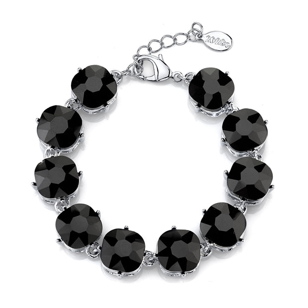 Silver-Tone Black Faceted Round Glass Bracelet 7 - 8 Inch Adjustable
