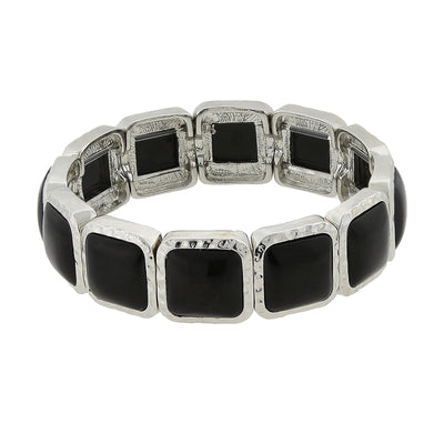 Silver-Tone Black Square Stretch Bracelet