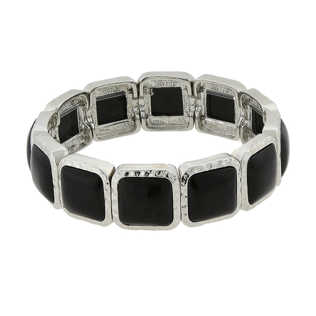 Silver Tone Black Square Stretch Bracelet