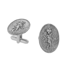 1928 Jewelry: 1928 Jewelry - Silver-Tone Cupid Angel Cufflinks