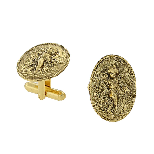 14K Gold Dipped Cupid Angel Round Cuff Links
