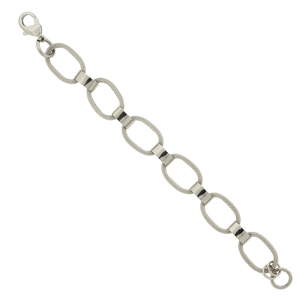 Silver Vintage Style Classic Textured Link Bracelet
