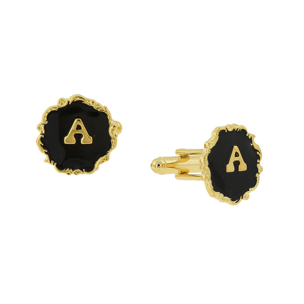 14K Gold-Dipped Black Enamel Initial Cufflinks