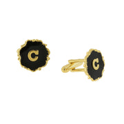 14K Gold Dipped Black Enamel Initial Cufflinks Gift Box