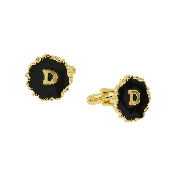 14K Gold-Dipped Black Enamel Initial B Cufflinks