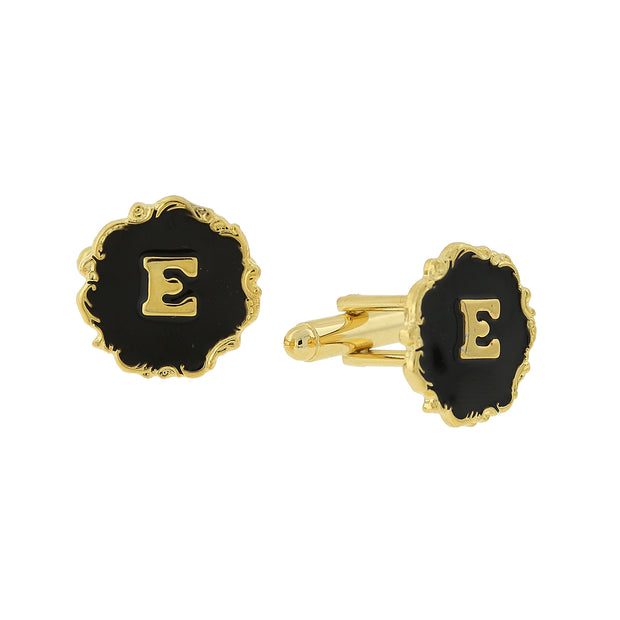 14K Gold-Dipped Black Enamel Initial C Cufflinks