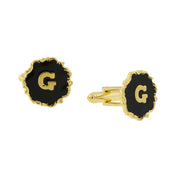 14K Gold Dipped Black Enamel Initial E Cufflinks