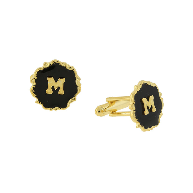 14K Gold-Dipped Black Enamel Initial H Cufflinks