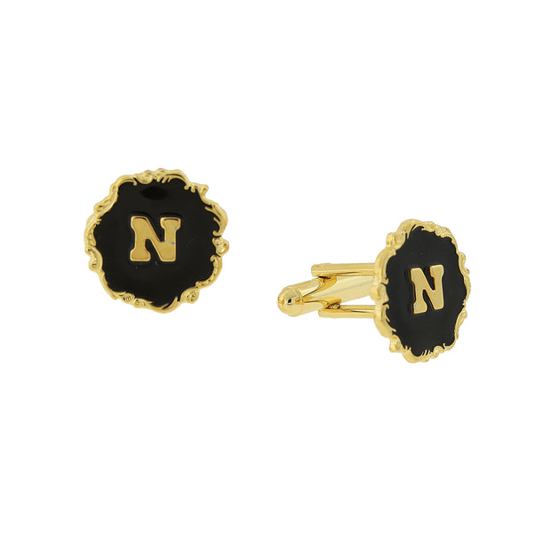 14K Gold-Dipped Black Enamel Initial I Cufflinks