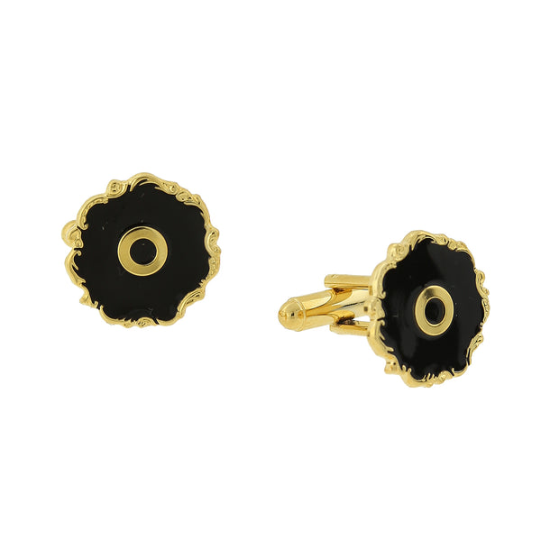 14K Gold-Dipped Black Enamel Initial J Cufflinks