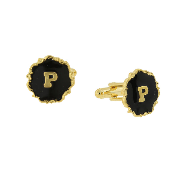 14K Gold Dipped Black Enamel Initial K Cufflinks
