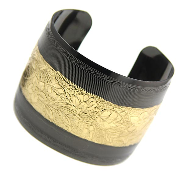 Black Tone And Gold Tone Floral Cuff Bracelet