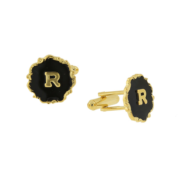 14K Gold-Dipped Black Enamel Initial L Cufflinks