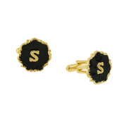 14K Gold-Dipped Black Enamel Initial M Cufflinks