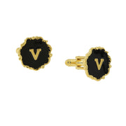 14K Gold-Dipped Black Enamel Initial O Cufflinks