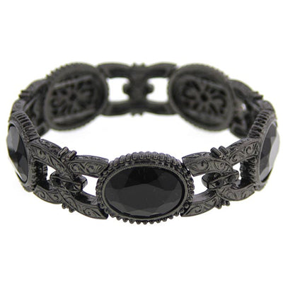 Black-Tone Black Faceted Oval Stone Stretch Bracelet