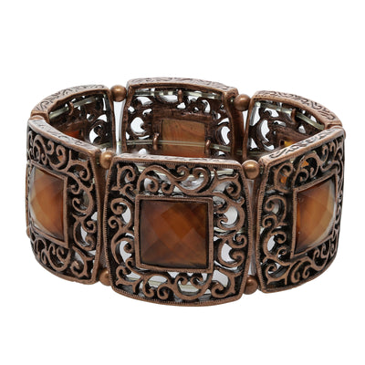 Copper-Tone Brown Faceted Stretch Bracelet
