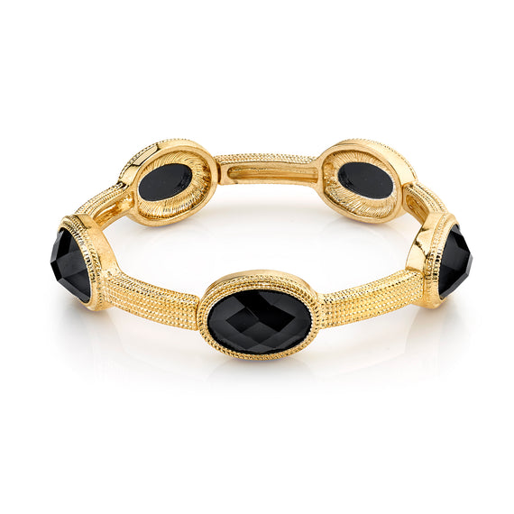 Fashion Jewelry - 2028 Gold-Tone Black Faceted Stone Stretch Bracelet