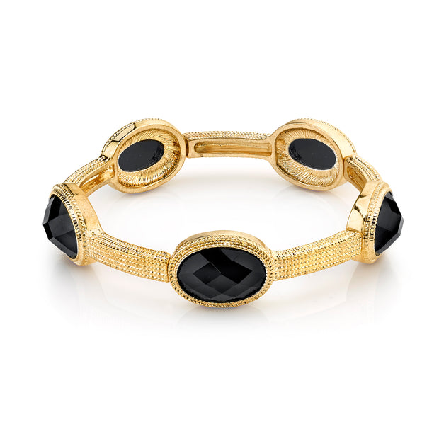 Gold Tone Black Faceted Stretch Bracelet