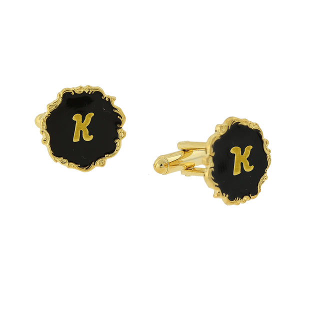 14K Gold-Dipped Black Enamel Initial Cufflinks P