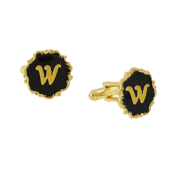 14K Gold Dipped Black Enamel Initial V Cufflinks