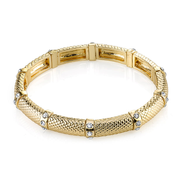 Gold Tone Clear Crystal Stretch Bracelet