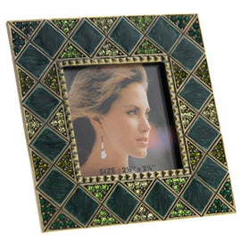 Gold-Tone Green Square Picture Frame