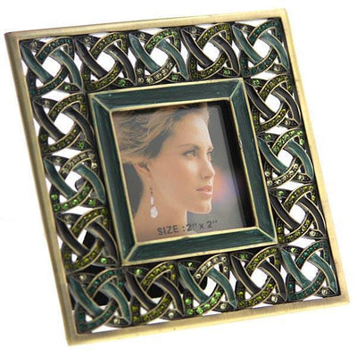 Gold Tone Dark Green And Light Green Square Picture Frame
