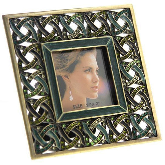 Gold-Tone Dark Green and Light Green Square Picture Frame