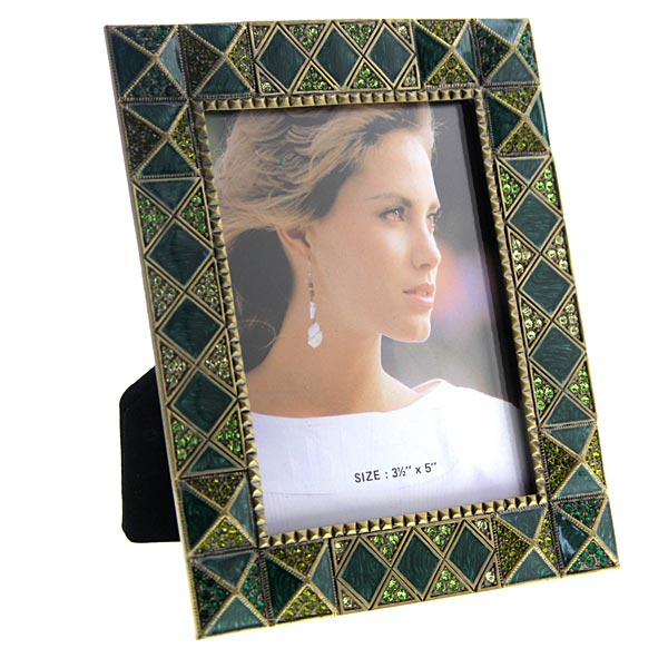 Gold Tone Brown And Green Square Picture Frame