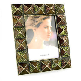 Gold-Tone Brown and Green Square Picture Frame