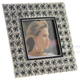 Silver-Tone Hematite Color with Black Stone Square Picture Frame