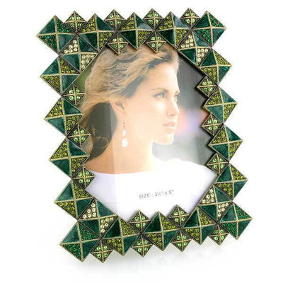 Gold Tone Green And Light Green Square Picture Frame