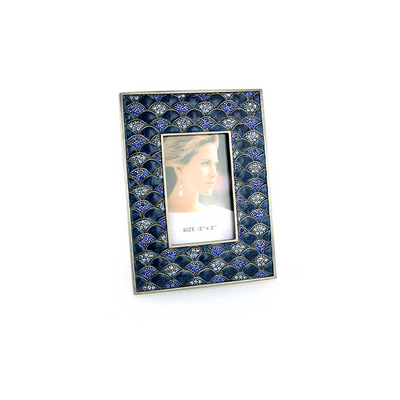 Silver-Tone Dark and Light Blue Square Picture Frame