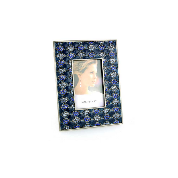 Silver Tone Dark And Light Blue Square Picture Frame
