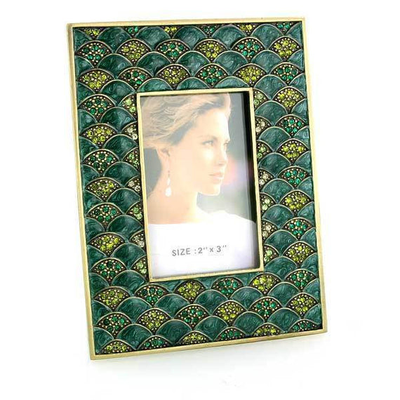 Gold-Tone Green and Light Green Square Picture Frame