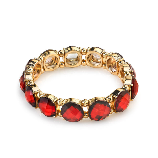 Gold Tone Red Faceted Stretch Bracelet