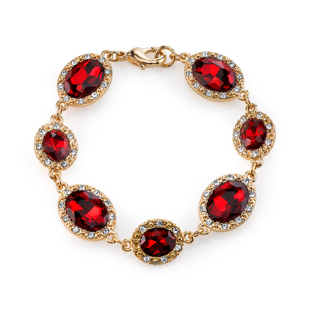 Gold Tone Red And Crystal Accent Oval Bracelet