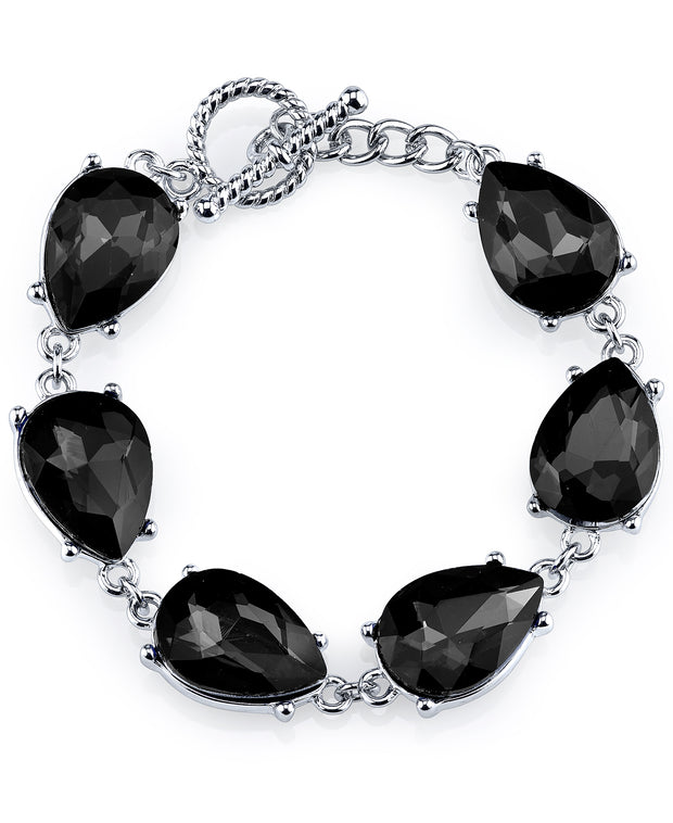 Silver-Tone Black Faceted Pear Shape Toggle Bracelet