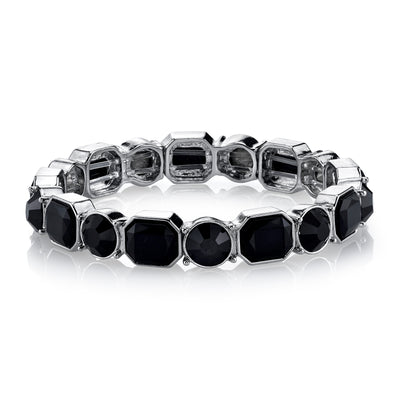 Silver Tone Black Stretch Bracelet